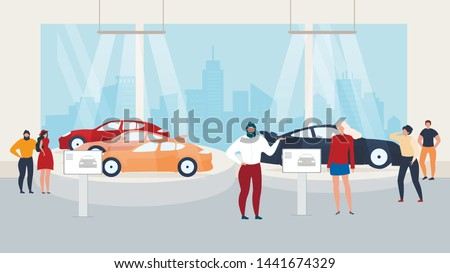 Visiting Auto Show, Presentation in Car Сenter. Manager, Salesman Represent New Car Models, Visitors, Customers Watching in Distribution Showroom. Vector illustration in Flat Cartoon Style