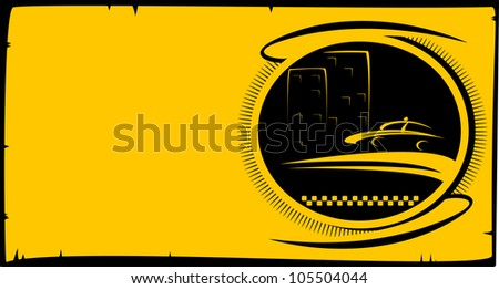 visiting card background with taxi button with cab silhouette and city house with space for text