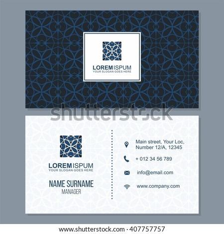 visiting card, business card set with abstract pattern. vector corporate identity template with simple logo