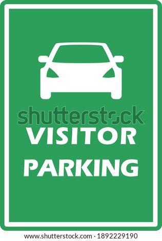 Visitor parking sign. Car garage board. Gest automobile park area. Flat green color vector. Zdjęcia stock ©