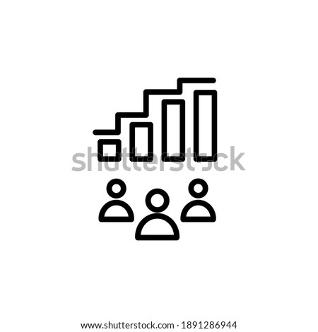 Visitor statistics. Icon for online marketing and digital commerce business. Vector Foto stock ©