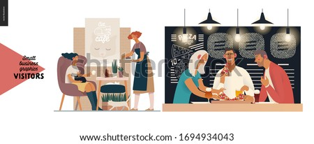 Visitors -small business graphics. Modern flat vector concept illustrations -set of illustrations showing customers eating inside of cafe, restaurant, bar or pub. Cat cafe and pizzeria