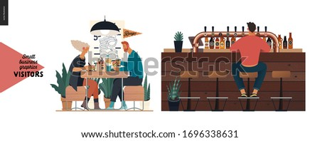 Visitors -small business graphics. Modern flat vector concept illustrations -set of illustrations showing customers eating inside of cafe, restaurant, bar or pub. Bar counter