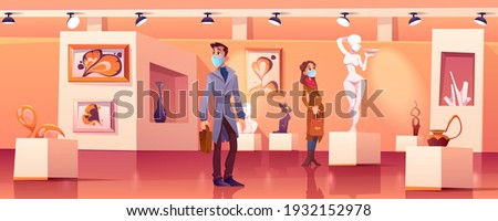 Visitors wear medic masks in museum with modern artworks. Art gallery interior with contemporary exhibition and tourists during coronavirus pandemic. People look exposition cartoon vector illustration Photo stock ©