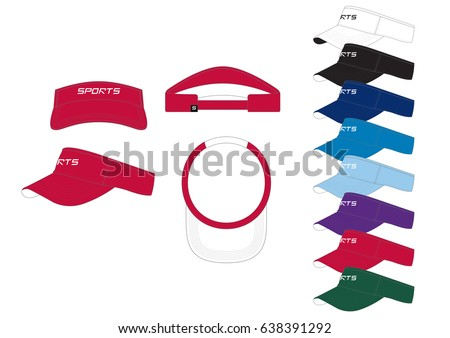 Shutterstock Visor Cap // front, back and side views with team wear colors