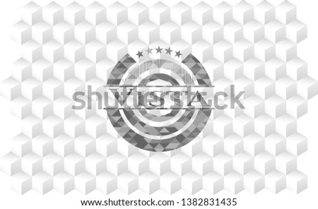 Vista realistic grey emblem with cube white background