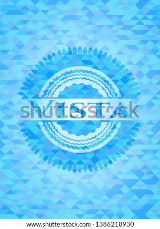 Vista realistic light blue emblem. Mosaic background