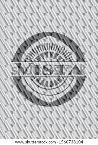 Vista shiny silver badge. Scales pattern. Vector Illustration. Detailed.