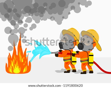Visual cartoon at fireman in uniform two firefighters using extinguisher and water spray by high pressure nozzle from hose for fire fighting in operation to fire surround with smoke and drizzle set 1