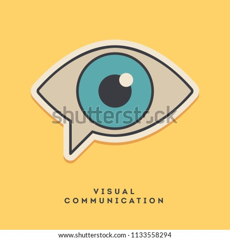 Visual communication sticker. Thin line, flat design style. Vector illustration