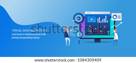 Visual data marketing - Business data, Data driven marketing flat vector illustration