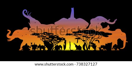 Visual double exposure drawing silhouettes of beautiful elephant family animal wildlife collection in Africa or Savannah, concept travel in the zoo, abstract sunset background for vector illustration