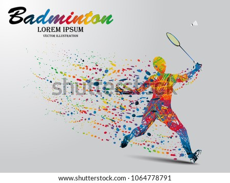 Visual drawing badminton sport and jumper at fast of speed on stadium , colorful beautiful design style on white background for vector illustration, exercise sport concept