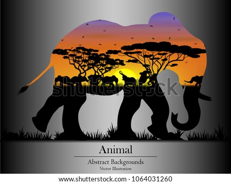 Visual drawing isolated elephant of silhouettes elephant family animal wildlife collection in the forest with nature and sunset background for vector illustration,travel concept - Shutterstock ID 1064031260