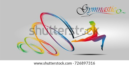 Visual drawing of beautiful gymnastic sport of front view, healthy lifestyle and sport concepts,abstract soccer game colorful vector illustration, set 2 of 20