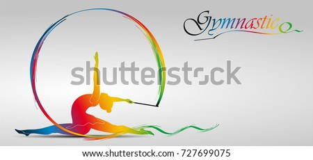 Visual drawing of beautiful gymnastic sport of front view, healthy lifestyle and sport concepts,abstract colorful vector illustration