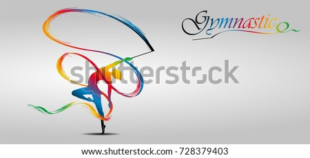 Visual drawing of beautiful gymnastic sport of front view, healthy lifestyle and sport concepts,abstract soccer game colorful vector illustration, set 7 of 20