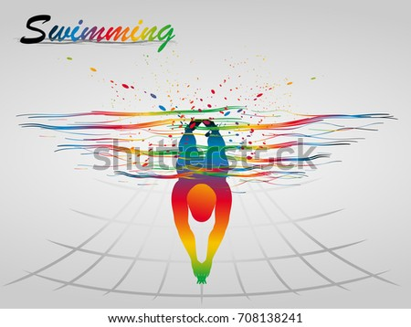 Visual drawing of beautiful sport swimming of top view, abstract colorful vector illustration, healthy lifestyle and sport concepts,abstract swimming game colorful vector illustration, set 4 of 4