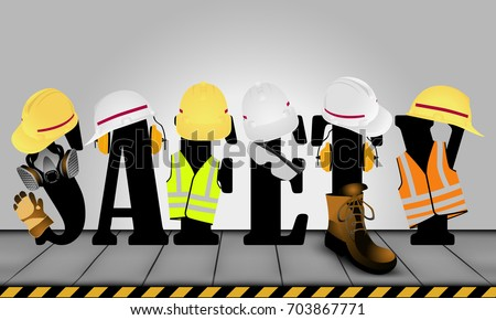 Visual drawing of standard safety protective equipment and safety text art on the iron plate floor background to health with in the industry and construction work for vector illustration,safety first