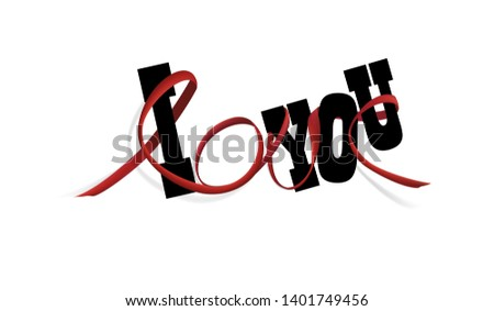 "Visual drawing of text ""LOVE"" with black ribbon art line and paper ""I YOU"", concept love caring you of copy space pink color background vector illustration"