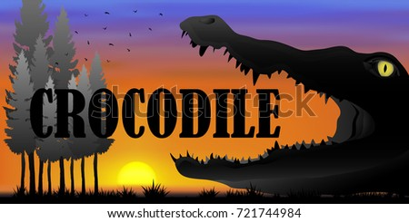 Visual drawing silhouette of crocodile and crocodile  text in the desert with nature and sunset background for vector illustration,travel concept