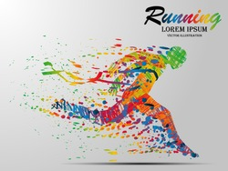 Visual drawing silhouettes of runner from start to finish, running and crossing a finish line winning a race, healthy lifestyle and sport concepts, abstract black and white vector illustration