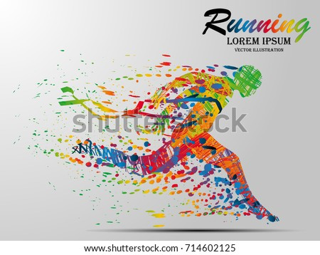 Visual drawing silhouettes of runner from start to finish, running and crossing a finish line winning a race, healthy lifestyle and sport concepts, abstract black and white vector illustration stock photo