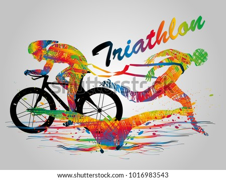 Visual drawing swimming, cycling and runner sport at fast of speed in triathlon game, colorful beautiful design style on white background for vector illustration, exercise sport concept set 2 of 2