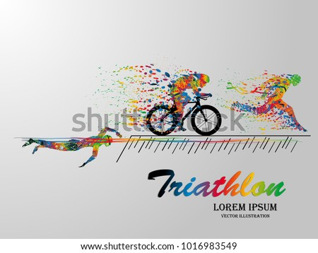 Visual drawing swimming, cycling and runner sport at fast of speed in triathlon game, colorful beautiful design style on white background for vector illustration, exercise sport concept set 1 of 2