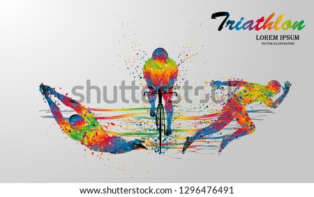 Visual drawing swimming, cycling and runner sport at fast of speed in triathlon game, colorful beautiful design style on white background for vector illustration, exercise sport concept set 1 of 4