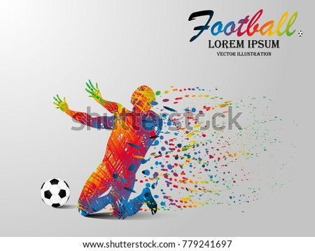 Visual drawing win football sport of front view, healthy lifestyle and sport concepts,abstract soccer game colorful vector illustration