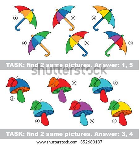 Visual game. Find hidden pair of Mushroom and Umbrella