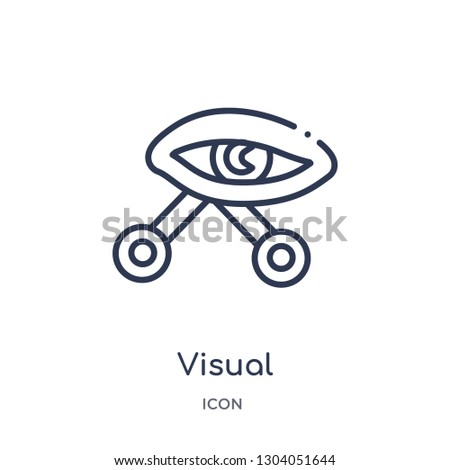 visual icon from user interface outline collection. Thin line visual icon isolated on white background.