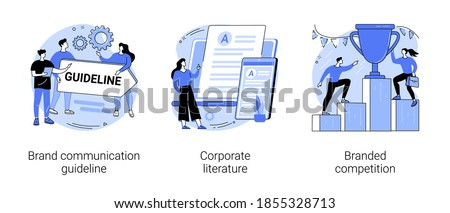 Visual identity abstract concept vector illustration set. Brand communication guideline, corporate literature, branded competition, media campaign, digital advertising, newsletter abstract metaphor.