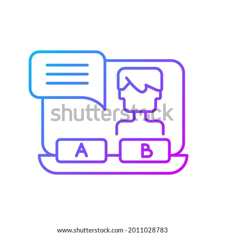 Visual novel gradient linear vector icon. Players making interesting choices during game process. Thin line color symbols. Modern style pictogram. Vector isolated outline drawing Сток-фото ©