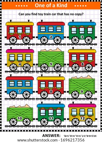 Visual puzzle with retro railroad cars: Can you find toy train car that has no copy? Answer included. ストックフォト ©