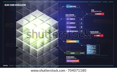 Visualization of blockchain technology. Bitcoin HUD user interface. Abstract virtual graphic for web and app.