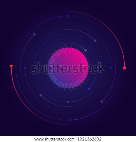 Visualization of the orbital motion of particles around the nucleus. Abstract futuristic science poster. Nuclear physics, chemistry, engineering, nanotechnology. Vector. Foto stock ©
