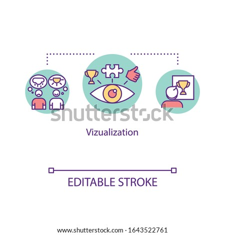 Visualization therapy concept icon. Guided imagery idea thin line illustration. Mental image, picture. Mind-body technique. Vector isolated outline RGB color drawing. Editable stroke ストックフォト ©