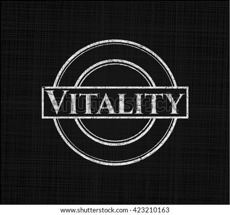 Vitality chalk emblem written on a blackboard