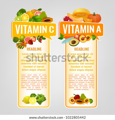 Vitamin A and Vitamin C banners with place for text. Vertical vector illustrations with caption lettering and top foods highest in vitamins isolated on a light grey background. Useful design element.