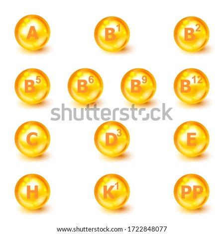 Vitamin A, B1, B2, B5, B6, B9, B12, C, D3, E, H, K1, PP. Vitamin complex. Icon set. Vector illustration. Nutrition sign vector concept. The power of vitamin. Vitamins group set. Healthy life concept