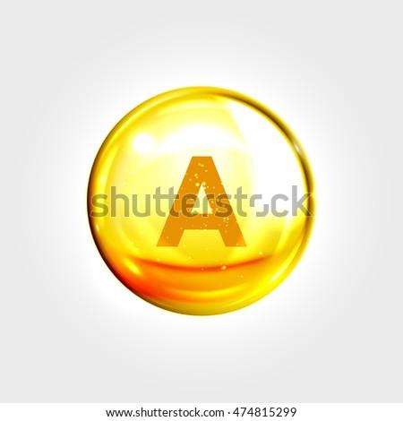 Shutterstock Vitamin A gold icon. Retinol vitamin drop pill capsule. Shining golden essence droplet. Beauty treatment nutrition skin care design. Vector illustration.