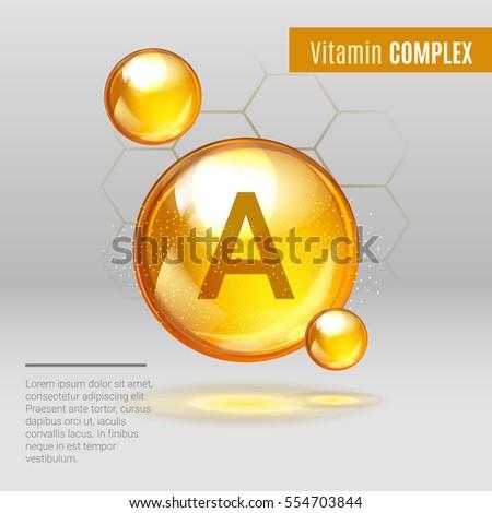 Vitamin A gold shining pill capcule icon . Vitamin complex with Chemical formula ,Retinol Retinol, retinal, beta carotene. Shining golden substance drop. Meds for heath ads. Vector illustration