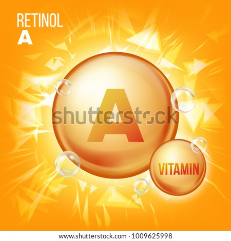 Vitamin A Retinol Vector. Vitamin Gold Oil Pill Icon. Organic Vitamin Gold Pill Icon. Capsule. For Beauty, Cosmetic, Heath Promo Ads Design. 3D Vitamin Complex With Chemical Formula. Illustration