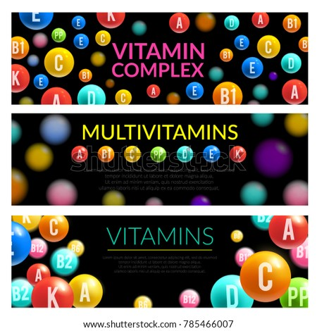 Vitamin and mineral complex 3d banner of dietary supplement and medicines. Multivitamin pill and capsule in shape of ball with vitamin group name letter for healthy nutrition and pharmacy theme design