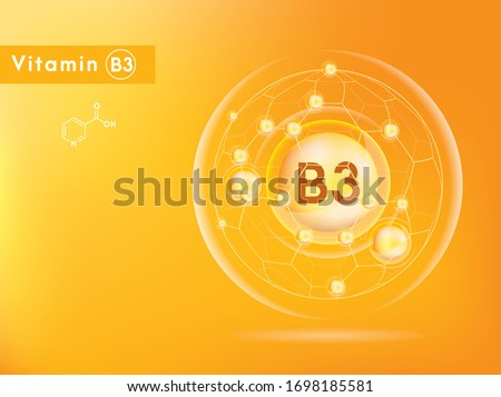 Vitamin B3 and structure. Medicine capsule, Golden substance. 3D Vitamin complex with chemical formula. Personal care and beauty concept. Vector Illustration