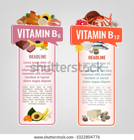 Vitamin B12 and Vitamin B6 banners with place for text. Vertical vector illustrations with caption lettering and top foods highest in vitamins isolated on a light  background. Useful design element.