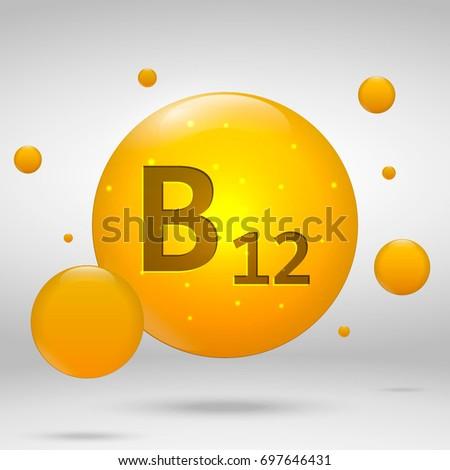 Vitamin B12 gold icon. cobalamin drop pill capsule. Vitamin complex design