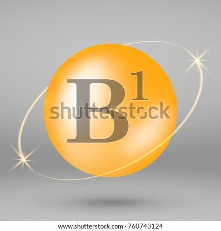 Vitamin B1 gold icon. drop pill capsule. Vitamin complex design